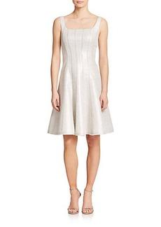 Kay Unger Metallic Tweed Fit-&-Flare Dress