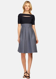 Kay Unger Mixed Media Fit & Flare Dress