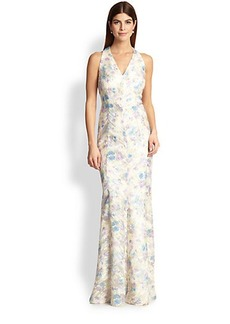 Kay Unger Mixed Media Halter Gown