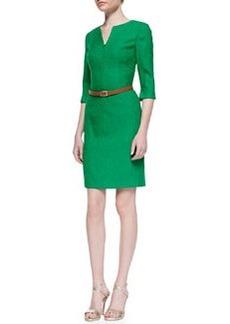 Kay Unger New York 3/4-Sleeve Belted V-Neck Dress