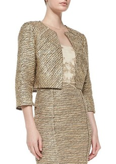 Kay Unger New York 3/4-Sleeve Cropped Tweed Jacket