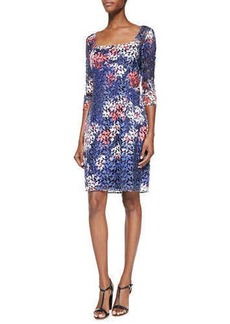 Kay Unger New York 3/4-Sleeve Floral-Print Lace Cocktail Dress