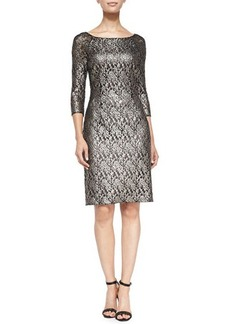 Kay Unger New York 3/4-Sleeve Lace Cocktail Dress