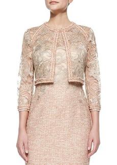 Kay Unger New York 3/4-Sleeve Lace Jacket W/ Tweed Trim