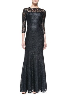 Kay Unger New York 3/4-Sleeve Lace-Overlay Gown