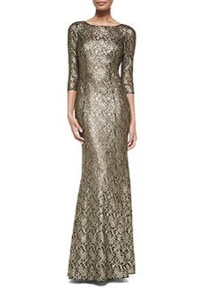 Kay Unger New York 3/4-Sleeve Metallic Lace Gown