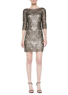 Kay Unger New York 3/4-Sleeve Metallic Lace Overlay Cocktail Dress