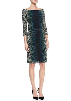 Kay Unger New York 3/4-Sleeve Ruched-Side Leopard-Print Sheath Dress