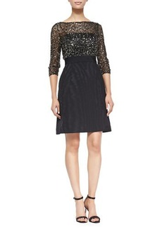 Kay Unger New York 3/4-Sleeve Sequined Top Cocktail Dress