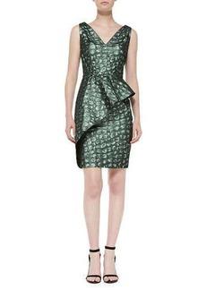 Kay Unger New York Asymmetric Peplum Cocktail Dress