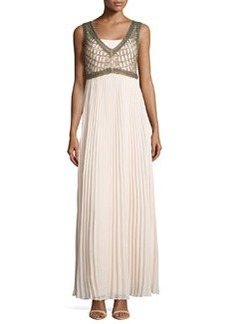 Kay Unger New York Beaded-Top Pleated-Skirt Gown