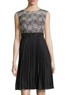 Kay Unger New York Beaded-Waist Cocktail Dress, White/Black