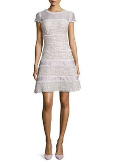 Kay Unger New York Cap-Sleeve A-Line Tweed Dress