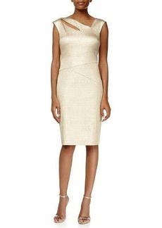 Kay Unger New York Cap-Sleeve Asymmetric-Neck Metallic Sheath Dress