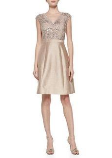 Kay Unger New York Cap-Sleeve Beaded-Bodice Cocktail Dress