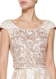 Kay Unger New York Cap-Sleeve Beaded Cropped Top