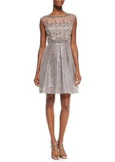 Kay Unger New York Cap-Sleeve Cocktail Dress W/ Embellished Bodice