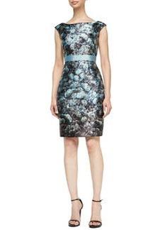 Kay Unger New York Cap-Sleeve Floral Sheath Dress