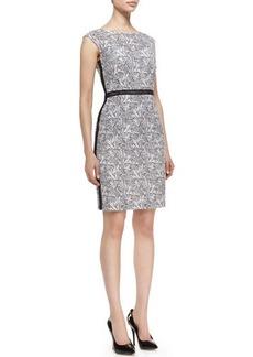 Kay Unger New York Cap-Sleeve Floral Sheath Dress, Black/White