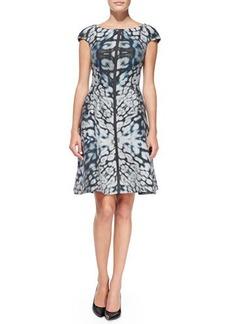 Kay Unger New York Cap-Sleeve Kaleidoscope Animal-Print Dress