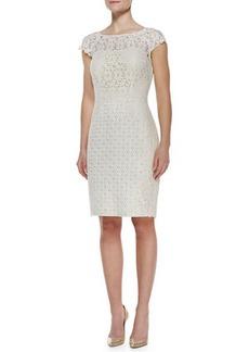 Kay Unger New York Cap-Sleeve Lace & Jacquard Dress, Ivory