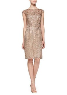 Kay Unger New York Cap-Sleeve Lace Overlay Cocktail Dress