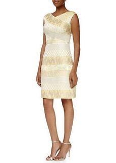 Kay Unger New York Cap-Sleeve Mixed-Media Cocktail Dress