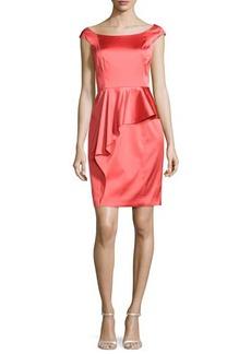 Kay Unger New York Cap-Sleeve Satin Cocktail Dress