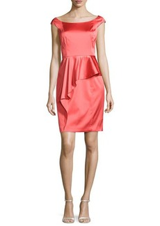 Kay Unger New York Cap-Sleeve Satin Cocktail Dress, Coral