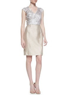 Kay Unger New York Cap-Sleeve Sequined Bodice Cocktail Dress
