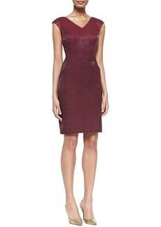 Kay Unger New York Cap-Sleeve Shimmery Sheath Dress, Cranberry