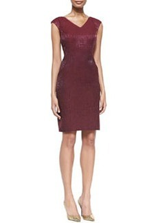 Kay Unger New York Cap-Sleeve Shimmery Sheath Dress, Cranberry