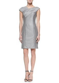 Kay Unger New York Cap-Sleeve Textured Sheath Dress