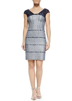 Kay Unger New York Cap-Sleeve Tiered Cocktail Dress