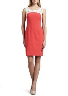 Kay Unger New York Crochet-Neck Dress