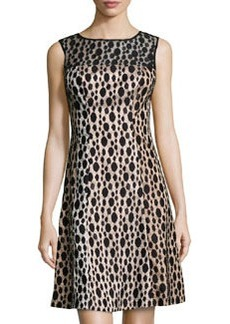 Kay Unger New York Dotted-Lace Cocktail Dress, Black Multi