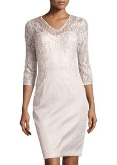 Kay Unger New York Embellished-Lace V-Neck Cocktail Dress, Pearl