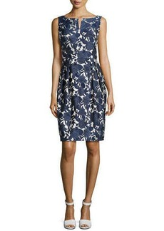 Kay Unger New York Embroidered Jacquard Dress with Pleated Skirt