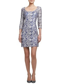 Kay Unger New York Embroidered Lace Cocktail Dress