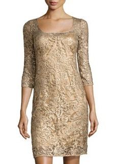 Kay Unger New York Embroidered-Lace Cocktail Dress