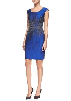 Kay Unger New York Embroidered-Waist Sheath Dress