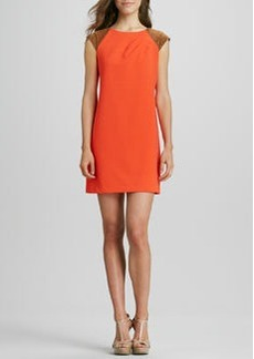 Kay Unger New York Faux-Leather Cap-Sleeve Dress