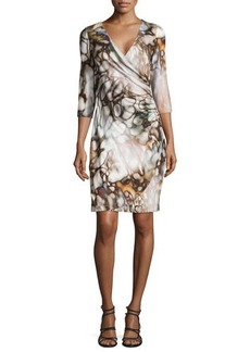 Kay Unger New York Faux Wrap Abstract Print Jersey Dress