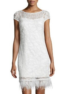 Kay Unger New York Feather-Hem Sequined Dress, Pearl