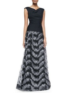 Kay Unger New York Feather Jacquard Ball Skirt
