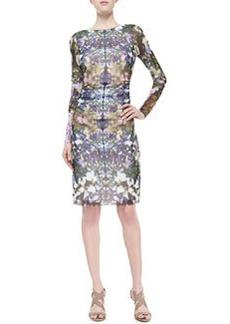 Kay Unger New York Floral-Print Boat-Neck Ruched Dress