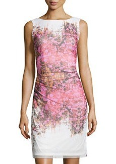 Kay Unger New York Floral-Print Ruched-Waist Cocktail Dress, Pink/Multi