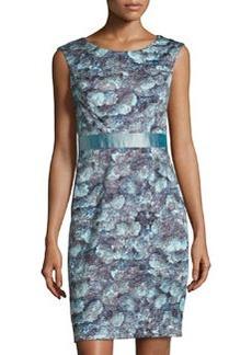 Kay Unger New York Floral-Print Sleeveless Sheath Dress, Blue/Black
