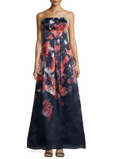 Kay Unger New York Floral-Print Strapless Gown, Navy/Multi