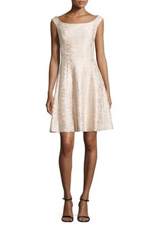 Kay Unger New York Jacquard Cap-Sleeve Cocktail Dress, Champagne
